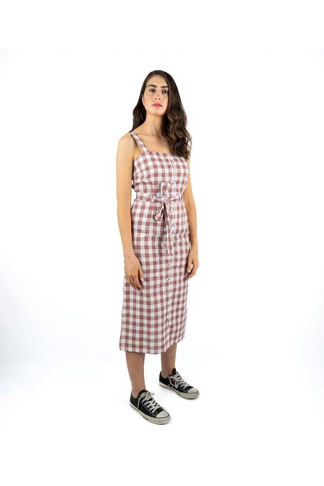 Vestido midi de cuadro vichy sugarhill brighton palencia la boheme online envio gratis