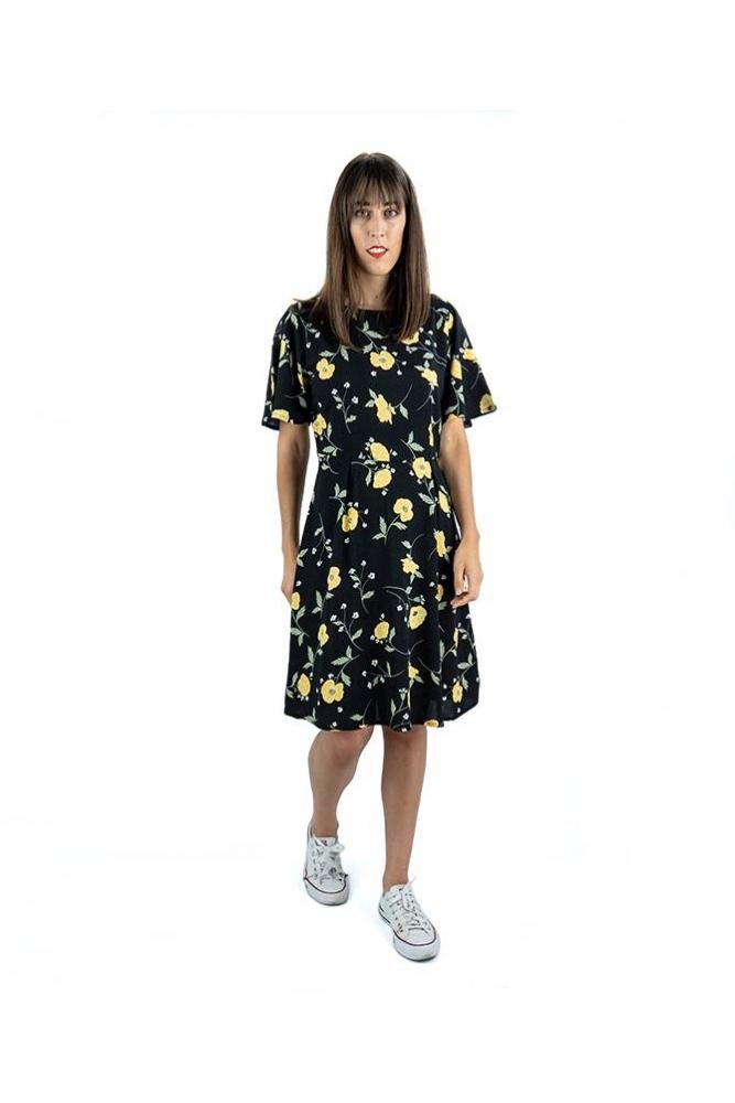 vestido isole negro flores byoung la boheme palencia envio gratis