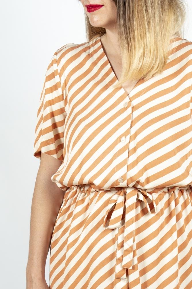 Vestido mara ichi rayas naranja la boheme palencia