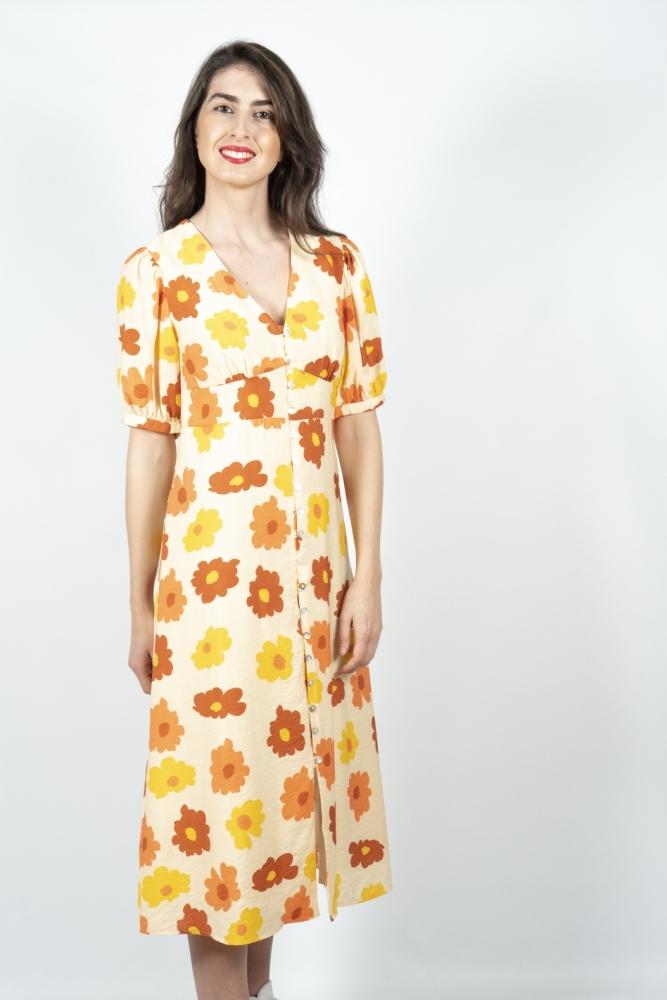 vestido midi camisero flores naranjas wild pony la boheme palencia