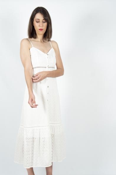 vestido midi blanco bordado ingles Akinolaude la boheme palencia
