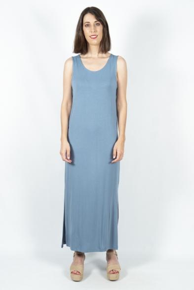 vestido largo lisa azul ichi la boheme palencia