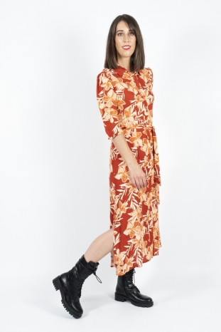 vestido midi Danita terracota grace and mila la boheme palencia